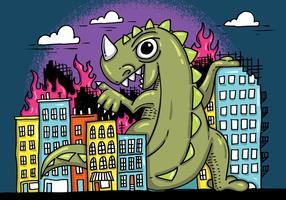 Monster Smashing City Vector