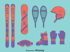 Vetor de elementos esportivos de inverno