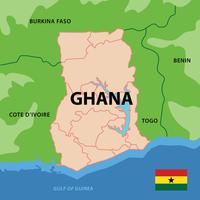 Mapa de Gana vetor