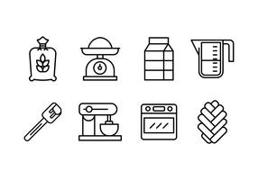 Challah bread making set icons