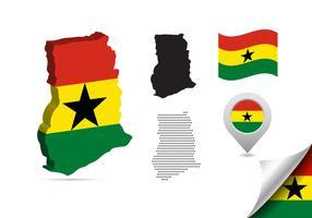 Mapa de Gana e ícones vetor