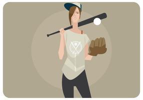 softball girl vector