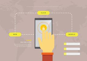 Ilustração do mouse sobre o pagamento por clique. Aplicação móvel vetor