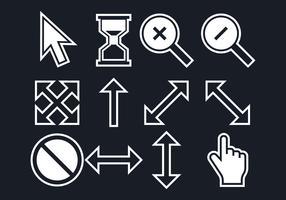 Set do mouse sobre ícones vetor