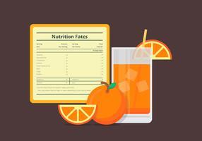 Ilustração de uma etiqueta de informações nutricionais com uma fruta laranja