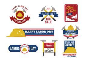 Vetor dos emblemas do Dia do Trabalho