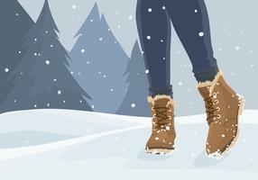 mulher em raquetes de neve vetor livre