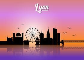 Silhouette Of Lyon City vetor