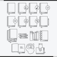 livro ícone da linha conjunto vetor