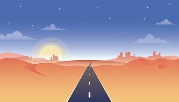Estrada da estrada através da ilustração do deserto