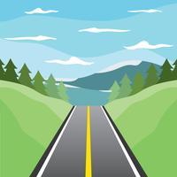 Vetor da estrada para o lago