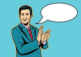 Homem de negócios com mãos aplaudindo vetor