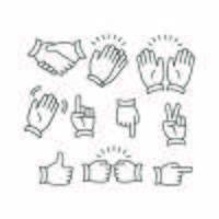 vetor de linha de emoticon de mão livre