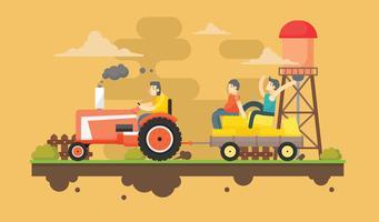 Diversão Hayride na ilustração plana do vetor da fazenda