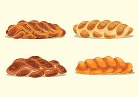 Conjunto de Ilustração do Pão Caseiro Challah vetor