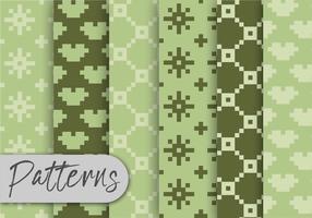 Conjunto de padrões de verde azeitona Pxel vetor