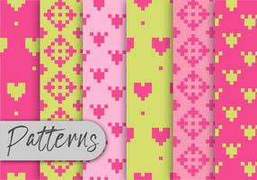 Conjunto de padrões de pixel colorido vetor
