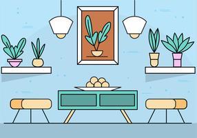 Ilustração plana da sala de vetores Flat Design
