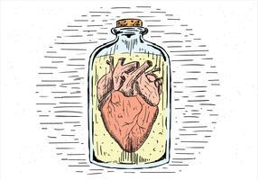 Coração desenhado mão livre do vetor em um frasco