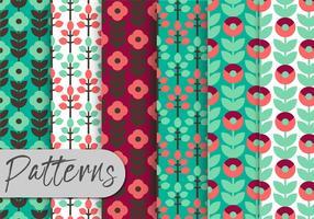 Conjunto de padrões florais de ornamento decorativo vetor