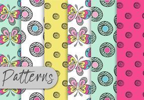 Conjunto colorido de padrões de Doodle vetor