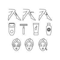 linha de cuidados da pele grátis vetor de ícones