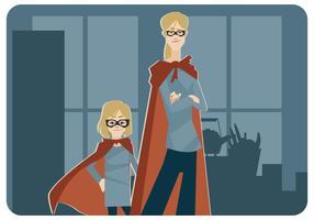 Super-Mãe e Super-LilGirl Vector