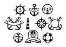 Vector de coleção de emblema náutico gratuito