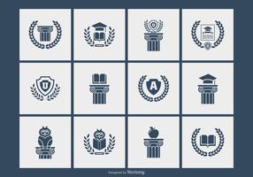 Vetores de símbolos da silhueta da universidade e da academia