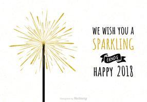 Sparkling Happy 2018 com fogos de artifício de ouro
