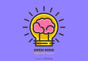 Ideia criativa do cérebro e projeto da linha lisa do vetor da lâmpada