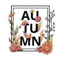 Vetor de flores e folhas de outono