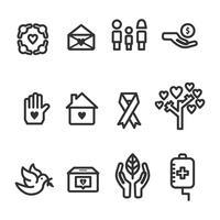 Coleção de ícones de bondade e cuidado vetor