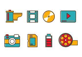 Ícones gratuitos de vídeo e câmera vetor
