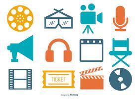 Coleção colorida colorida de ícones de cinema vetor