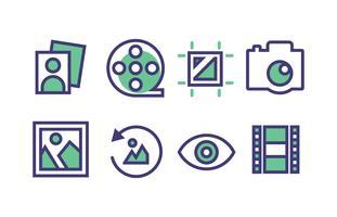 Pacote de ícones de fotografia com cores Duotone vetor