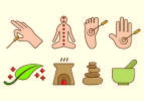 Conjunto de ícone de acupuntura vetor