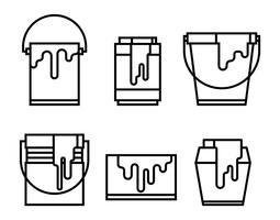 Ícones do vetor do pote de pintura