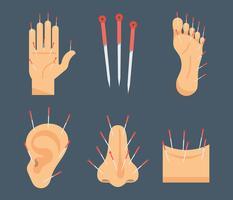 Ícones de vetor de acupuntura