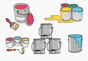 pote de pintura mão desenhada vetor de ilustração