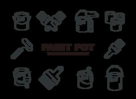 Vetor de ícones de pote de tinta