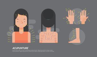 Ilustração plana do vetor do ponto da acupuntura