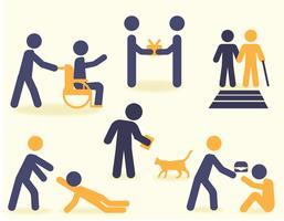 bondade e ajuda aos outros ícones pacote de vetores