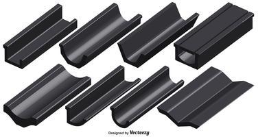 Conjunto de vetores de elementos da calha do telhado 3d