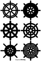 Ícones do vetor Conjunto da roda do navio