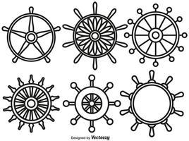 conjunto de vetores de ícones de estilo de linha de rodas de navio