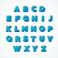 Fonte do alfabeto azul 3D vetor