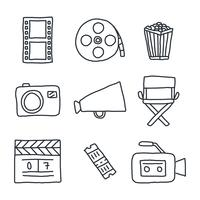Doodles relacionados ao cinema vetor
