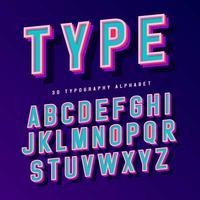 Alfabeto tipográfico 3D vetor