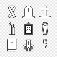 Ícones de luto vetor
